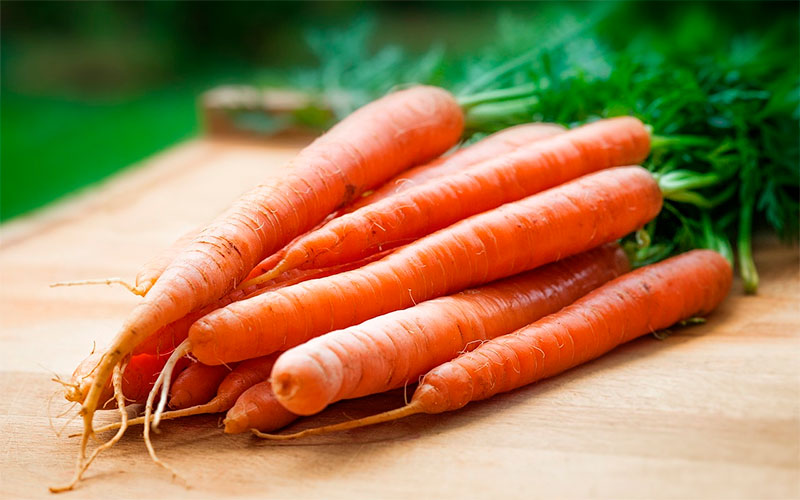 Carrots on a worktop