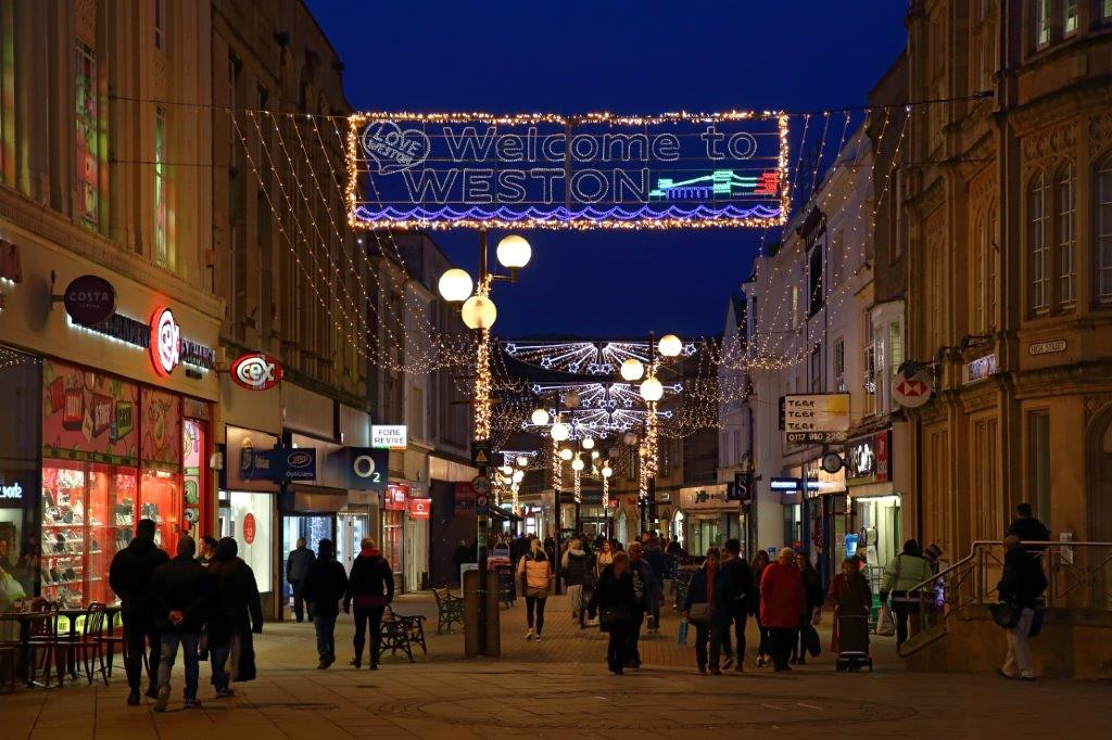 Christmas lights in Weston super Mare High Street