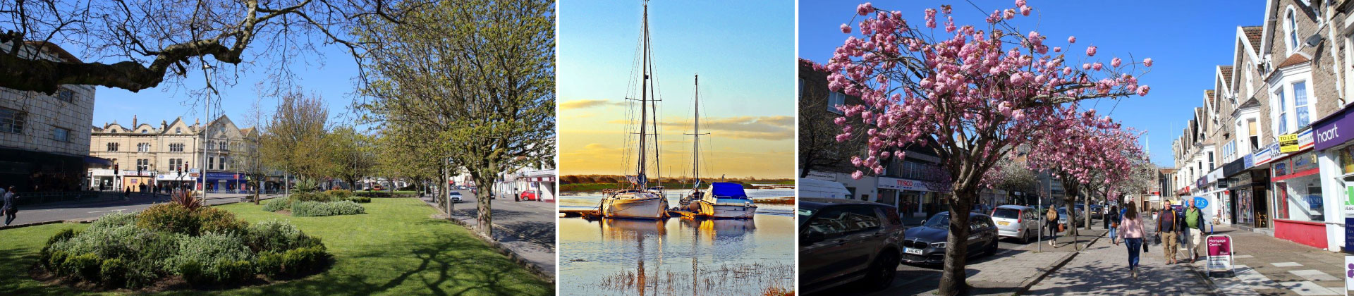 A montage of images showing Weston-super-Mare Green Spaces and Town Centre