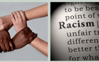 Joined hands the word racism