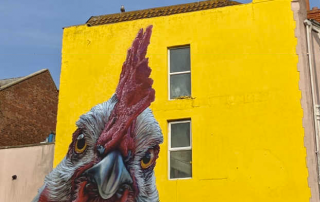 Chicken on a building